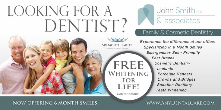 John Smith DDS and Associates whitening postcard