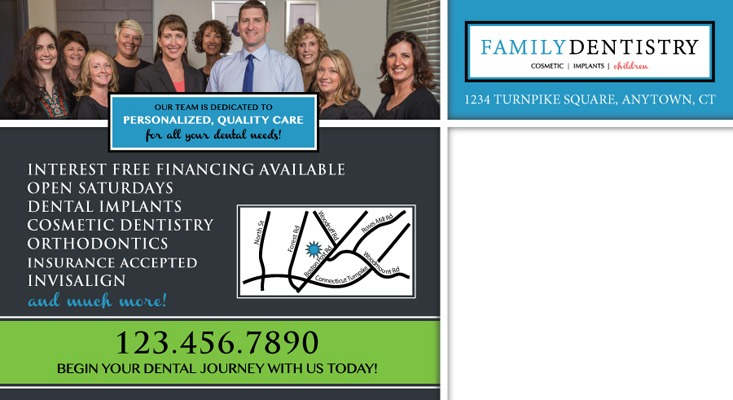 Family dentistry postcard