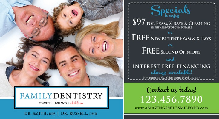 Family Dentistry customer specials postcard