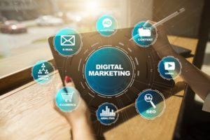 tablet with digital strategy for small business marketing