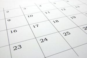 calendar showing busy season